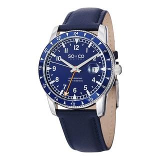 SO&CO New York Men's Yacht Club Quartz Leather Strap Watch