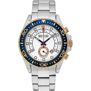 SO&CO New York Men's Yacht Club Quartz Chorongraph Watch with Stainless Steel Link Bracelet