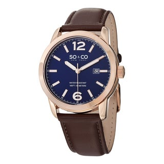 SO&CO New York Men's Madison Quartz Leather Strap Watch