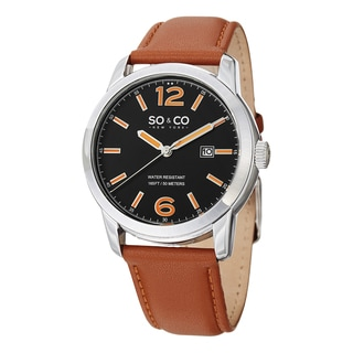 SO&CO New York Men's Madison Quartz Leather Strap Watch