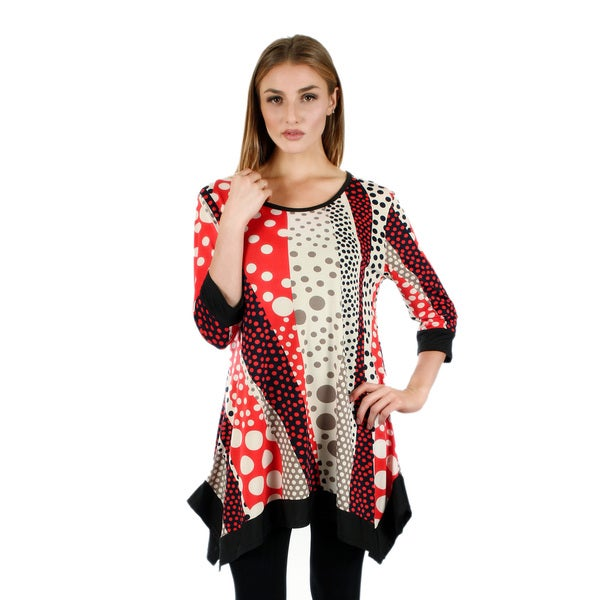 Firmiana Women's 3/4 Sleeve Orange Multi Color Polka Dot Top with Sidetails