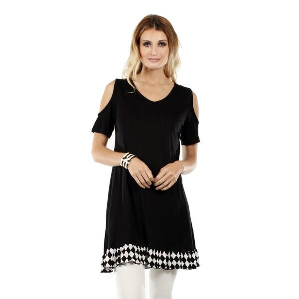 Firmiana Women's Short Sleeve Black and White Peek-a-boo Shoulder Ruffle Tunic