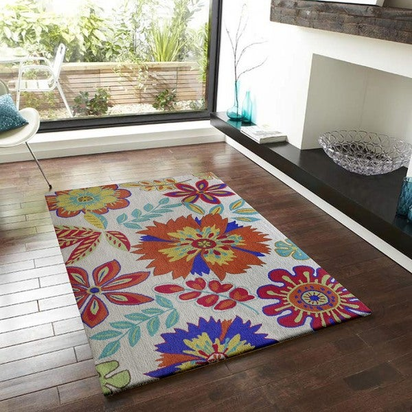 Bright Floral Outdoor Rug 5 x 7 Overstock