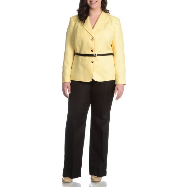 Tahari Arthur S. Levine Women's Plus Size Croco Belted 2-piece Pant Suit