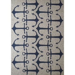 Navy Anchors Outdoor Rug (5' x 7')