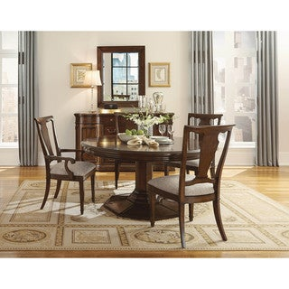 Cherry and Walnut Round Dining Table with One 22-inch Leaf