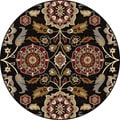 Alise Infinity Black Floral Area Rug (5'3 Round)