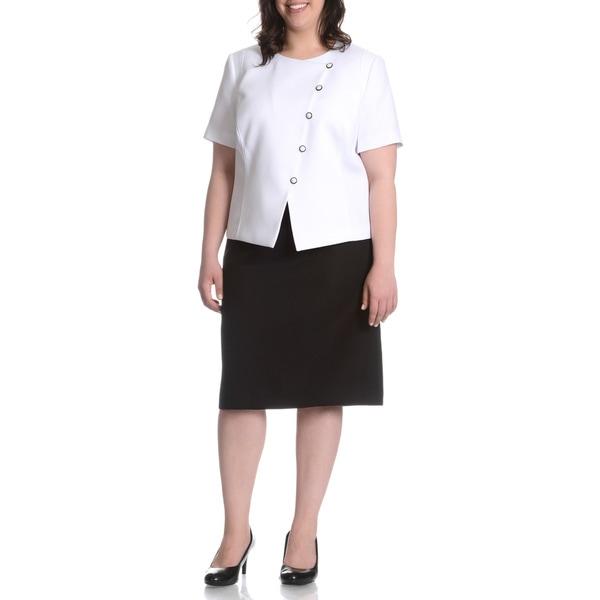 Tahari Arthur S. Levine Women's Plus-size Woven Texture 2-piece Skirt Suit