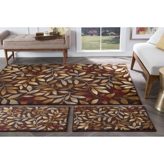 Alise Rhythm Brown Floral Area Rugs (Set of 3)
