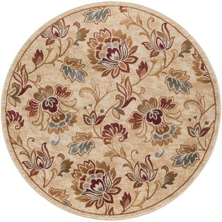 Alise Flora Ivory and Brown Floral Area Rug (5'3 Round)