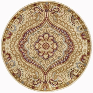 Alise Rhythm Ivory and Black Paisley Area Rug (7'10 Round)