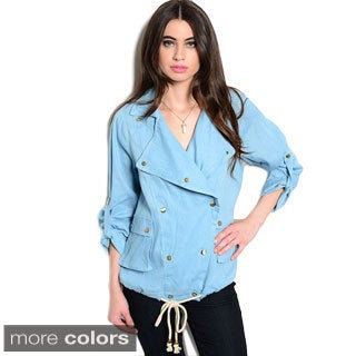 Shop the Trends Women's 3/4 Sleeve Denim Double Breasted Snap Button Jacket Top