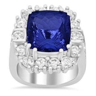 14k White Gold 3 1/10ct TDW Diamond and Tanzanite Ring (E-F, VS1-VS2)