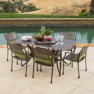 Christopher Knight Home Sebastian Outdoor Cast Aluminum 7-piece Dining Set with Lazy Susan