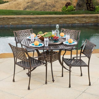 Christopher Knight Home Sebastian Outdoor Cast Aluminum 5-piece Dining Set with Lazy Susan