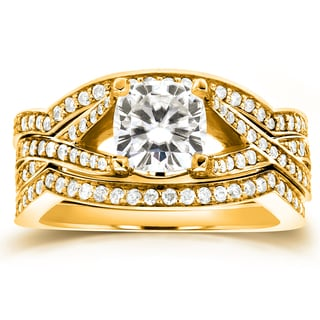 Annello 14k Yellow Gold Cushion-cut Moissanite and 3/5ct TDW Diamond 3-piece Bridal Set Rings (G-H, I1-I2)