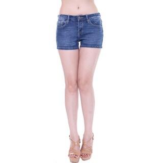 Tri Angel Women's T3005-S Mid-rise Distressed Denim Shorts