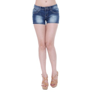 Tri Angel Women's T3006-S Mid-rise Distressed Denim Shorts