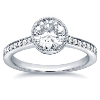 Annello 14k White Gold Round-cut Moissanite and 1/4ct TDW Diamond Bezel Engagement Ring (G-H, I1-I2)
