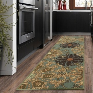 Ottohome Collection Red contemporary Damask Design Runner Rug (1'10 x 7')