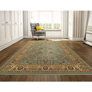 Ottohome Collection Persian Style Rug Oriental Rugs Sage Green/ Aqua Blue Runner Rug (8'2 x 9'10)