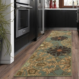 Ottohome Collection Red contemporary Damask Design Runner Rug (1'8 x 4'11)