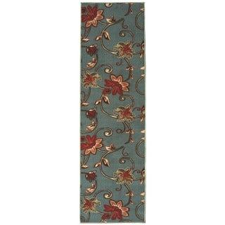 Ottohome Collection Blue Color Floral Design Runner Rug (1'8 x 4'11)