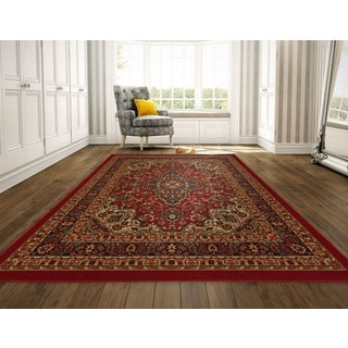 Ottohome Collection Persian Heriz Oriental Design Red Runner Rug (8'2 x 9'10)