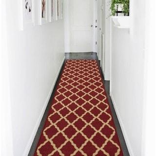 Ottohome Collection Red Color contemporary Morrocon Trellis Design Area Rug (1'10 x 7')