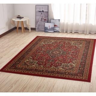 Ottohome Collection Persian Heriz Oriental Design Red Runner Rug (5' x 7')