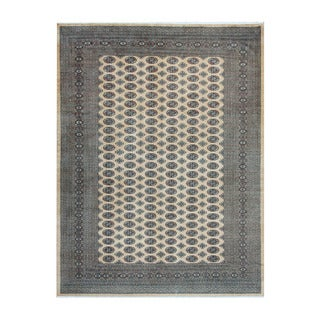 Herat Oriental Pakistani Hand-knotted Bokhara Beige/ Black Wool Rug (9' x 12')