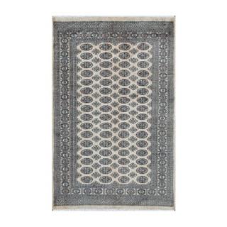 Herat Oriental Pakistani Hand-knotted Bokhara Ivory/ Black Wool Rug (5' x 7'10)