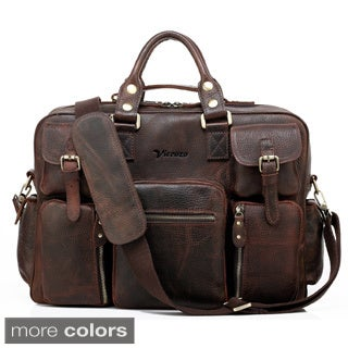 Vicenzo Leather Titan Full Grain Heavy Duty Leather Laptop Briefcase