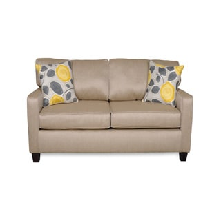Sofab Darcey Beige Love Seat with Two Reversible Accent Pillows