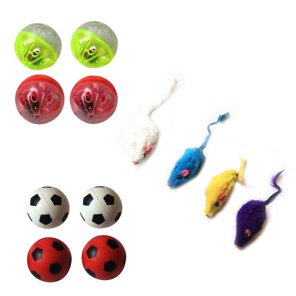 Iconic Pet Fur Mice, Plastic Ball and Bouncing Ball 15509715