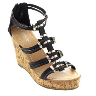 De Bengonia Thw-20 Women Back Zip Strappy Cork Platform Wedges