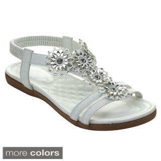 Bolaro Df5285 Women's Open Toe Chic Rhinestone Deco Slingback Sandals