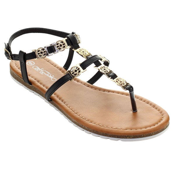 De Bengonia Th-30 Women Medallion T-Strap Sling Back White Sole Flat Sandals