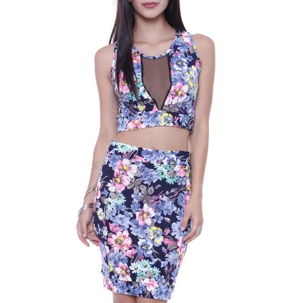 Juniors' SET1459 Fishnet Mesh 2-piece Crop Top Floral Midi Skirt