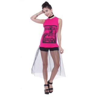 Juniors' 'Out Of Your League' Tulle Skirt Top