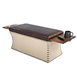 COUEF Label Carey Storage Bench with Two Pull Out Shelves in Chocolate Brown Faux Leather and Taupe Linen