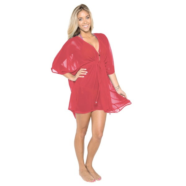 La Leela Chiffon Swimwear Beach One Size Kaftan Cover up Red