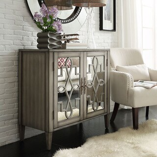 Cortona Scroll Antique Mirrored Double Door Side Chest Cabinet