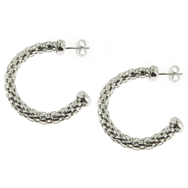 Handcrafted Sterling Silver Mesh Hoop Earrings (Italy)