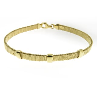 Handcrafted Gold Plated Sterling Silver Three Bars Wrapped Wire Bracelet (Italy)