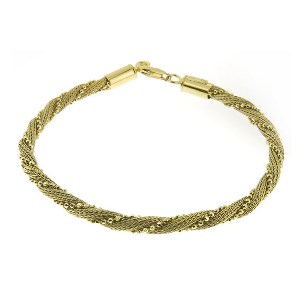 Handcrafted Gold or Rhodium Plated Sterling Silver Twisted Mesh and Beads Bracelet (Italy) 15511587