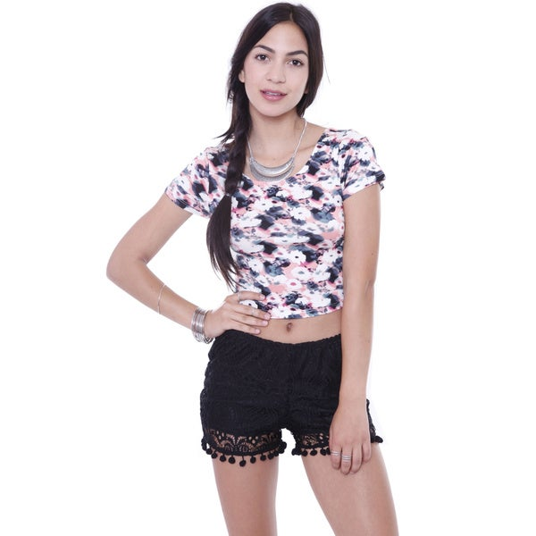 Juniors' KT8601 Floral Print Strappy Back Crop Top