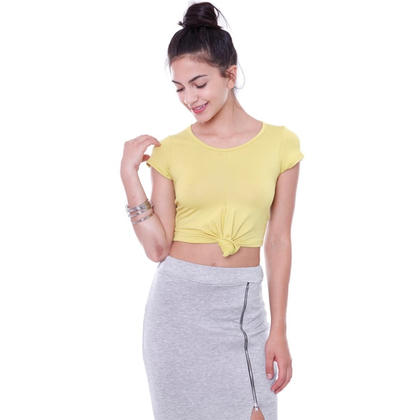 Juniors' T6000P Front Tie Solid Crop Top