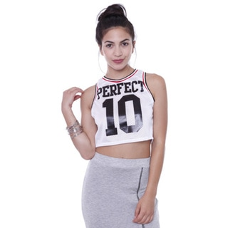 Juniors' TA3884 Sporty Jersey Perfect 10 Crop Top