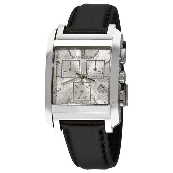 Burberry Men's BU1564 'Square' Chronograph Black Leather Watch